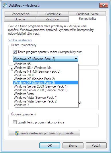 Jak spustit starší program na nových Windows