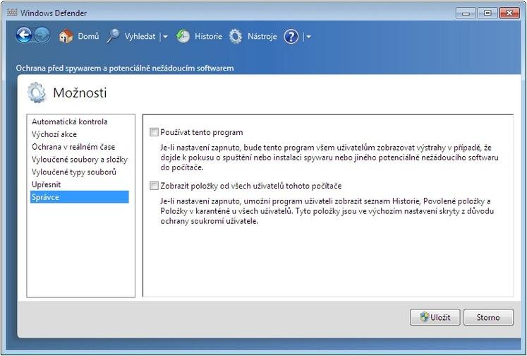 Jak zakázat Windows Defender