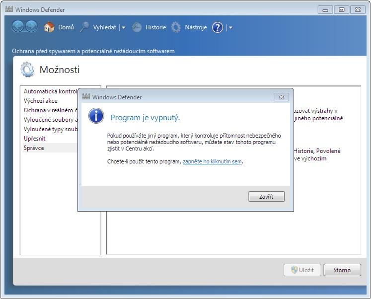 Windows Defender - Program je vypnutý