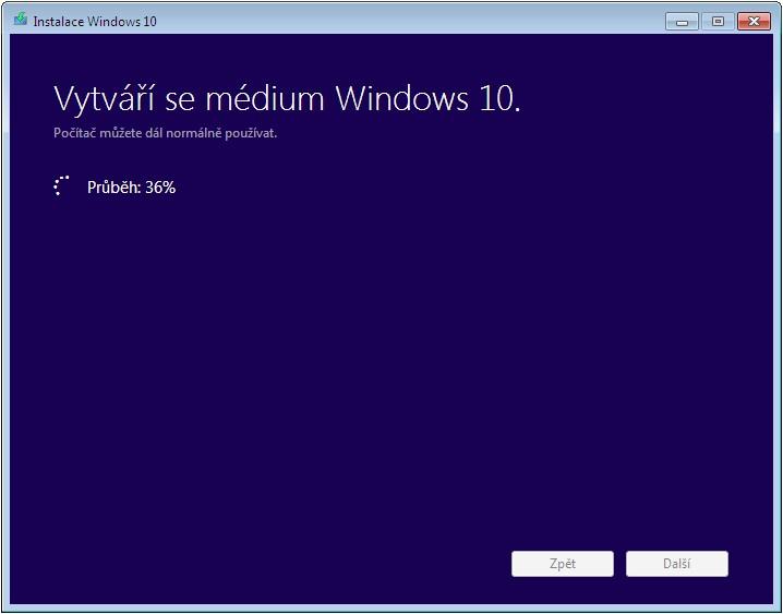 Instalace Windows 10 - Vytváří se médium Windows 10