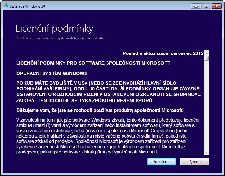 Instalace Windows 10 - Licenční podmínky
