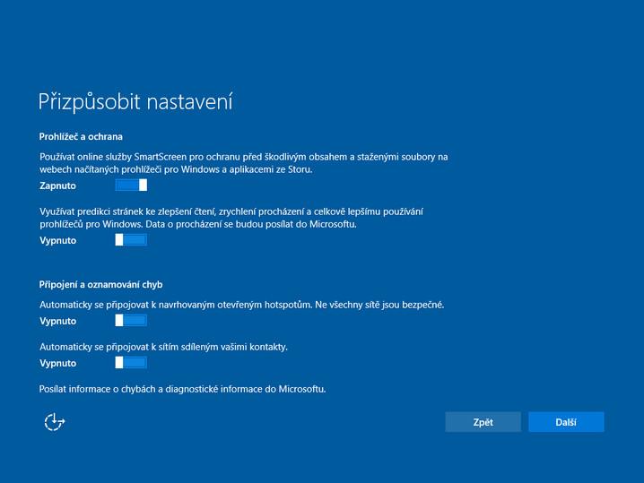 Instalace Windows 10 - Přizpůsobit nastavení
