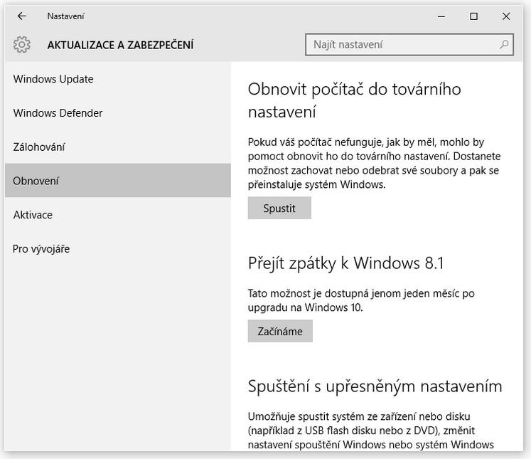 Jak se vrátit z Windows 10 k původní verzi Windows - Aktualizace a zabezpečení