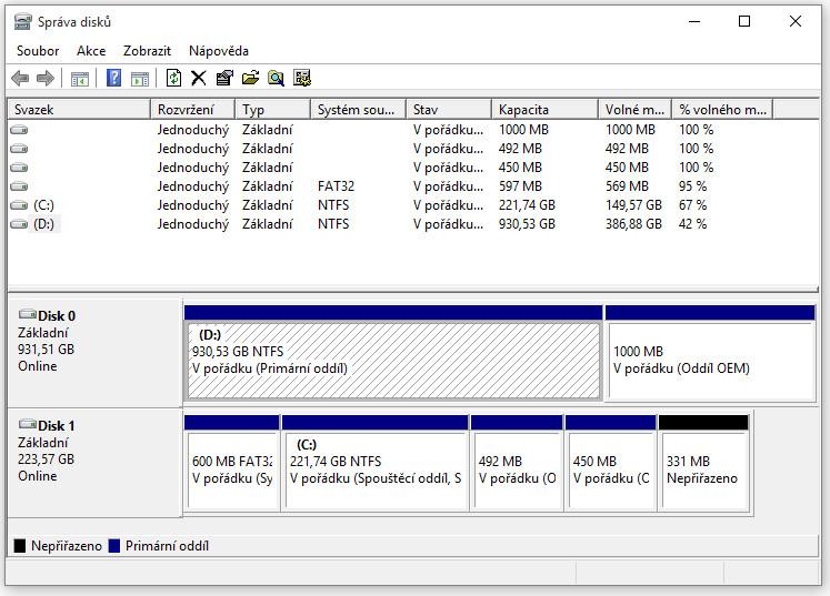 Jak spojit dva oddíly na pevném disku - Správa disků
