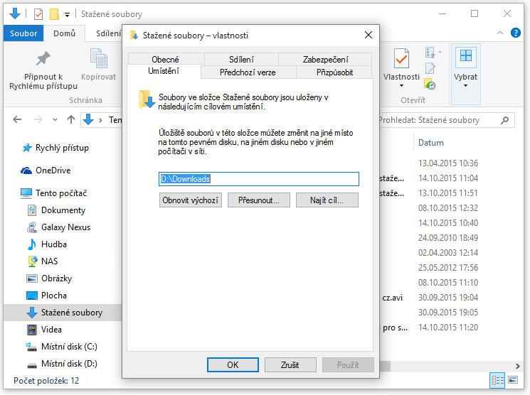 Jak změnít výchozí složku pro stažené soubory