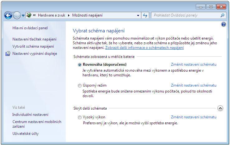 Možnosti napájení ve Windows 7
