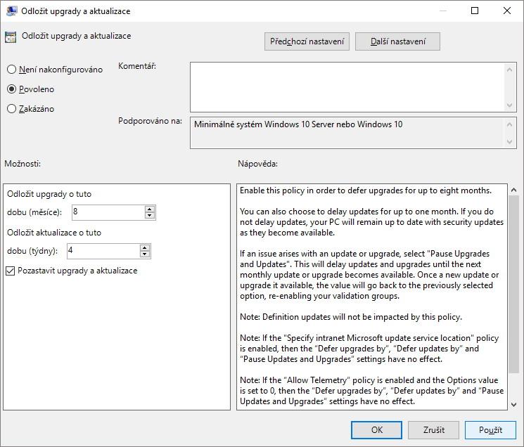 Jak odložit nebo zakázat automatické aktualizace Windows 10