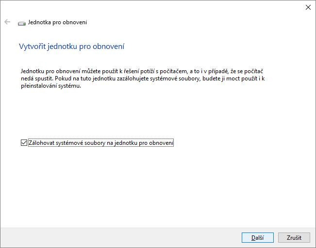 Jak vytvořit jednotku pro obnovení Windows 10