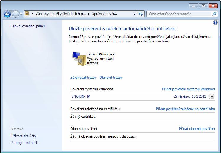 Správce pověření ve Windows 7