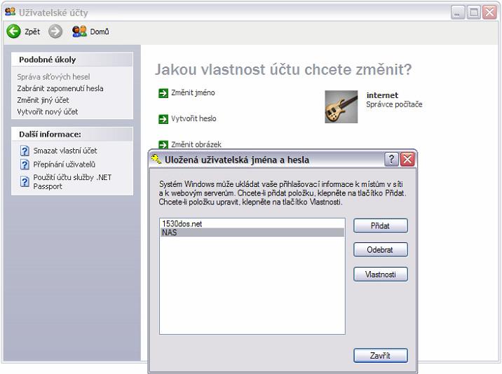 Správa síťových hesel ve Windows XP