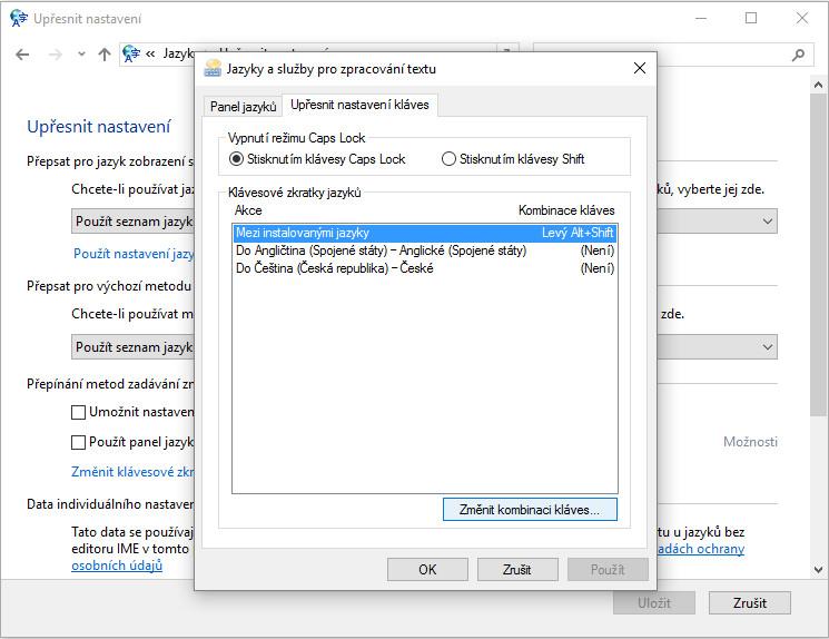 Přepínání jazyků klávesnice