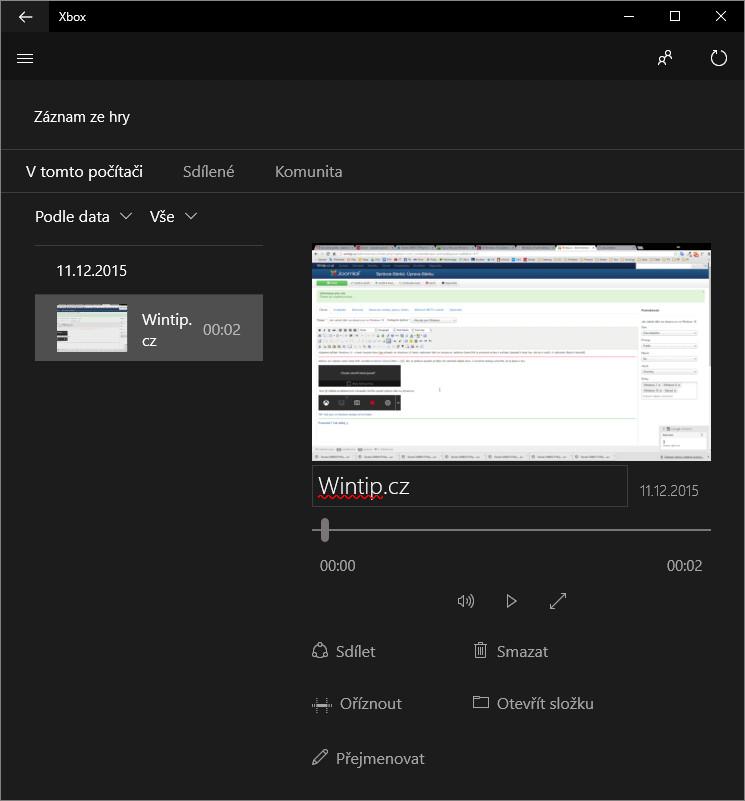 Jak nahrát dění na obrazovce ve Windows 10