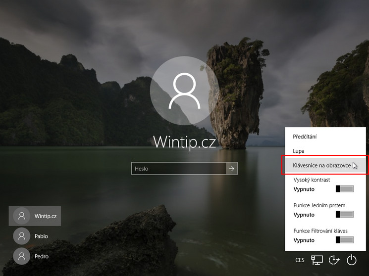 Jak zobrazit klávesnici na obrazovce