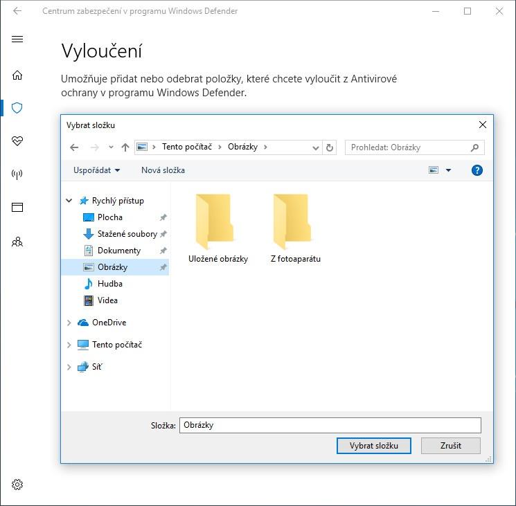 Jak přidat výjimky ve Windows Defenderu